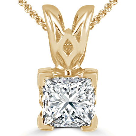 Princess Cut Diamond Solitaire V-Prong Decorative-Bail Pendant Necklace with Chain in Yellow Gold - #PSF-Y