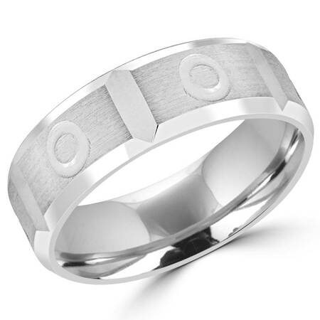 6.0 MM Brushed Mens Comfort Fit Wedding Band Ring in White Gold - #JM350-7WG-W