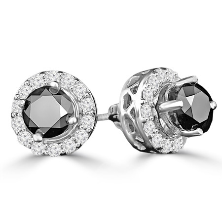 Round Cut Black Diamond Multi-Stone 4-Prong Halo Stud Earrings with Round Cut Diamond Accents with Screwbacks in White Gold - #CDEATH0667