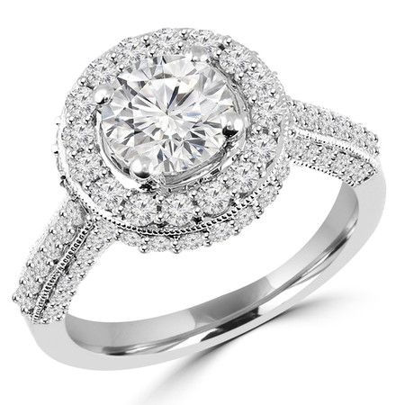 Round Cut Diamond Multi-Stone 4-Prong Vintage Cathedral-Set Halo Engagement Ring with Round Diamond Accents in White Gold - #HR6260-W