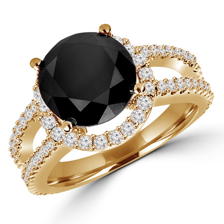 Round Cut Black Diamond Multi-Stone Split-Shank 4-Prong Halo Engagement Ring with Round White Diamond Accents in Yellow Gold - #HR6265-Y-BLK