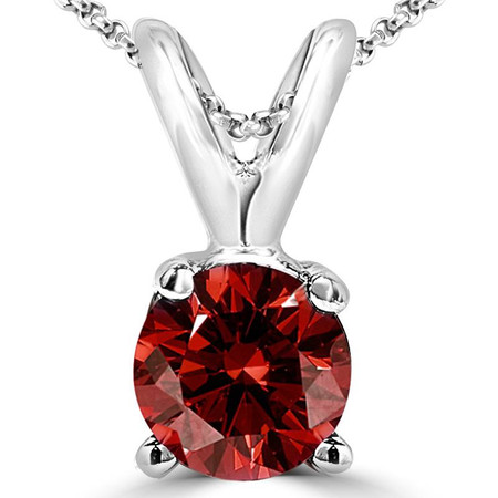 Round Cut Red Diamond Solitaire 4-Prong Pendant Necklace with Chain in White Gold - #P4R-W-RED