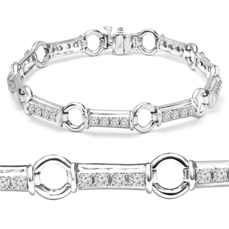 Round Cut Diamond 4-Prong Fashion Tennis Bracelet in White Gold - #B1280-W