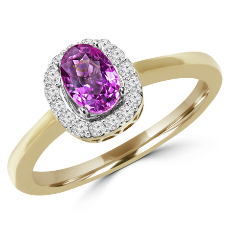 Oval Cut Pink Sapphire Gemstone Multi-Stone 4-Prong Halo Cocktail Ring with Round White Diamond Accents in Yellow Gold - #IFHH8115-Y-SAP