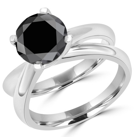 Round Cut Black Diamond Solitaire 4-Prong Engagement Ring in White Gold - #HR6949-W-BLK