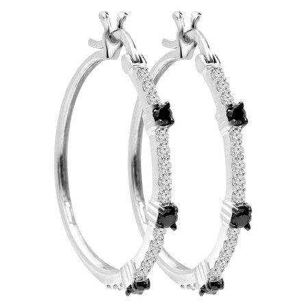 Round Cut Black & White Diamond Multi-Stone Hoop Earrings in White Gold - #CDEAOH1058