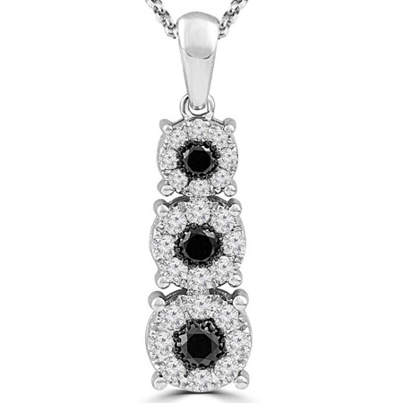 Round Cut Black Diamond Multi-Stone Three-Stone Shared-Prong Drop Pendant Necklace with Round White Diamond Accents with Chain in White Gold - #CDPEOC6191