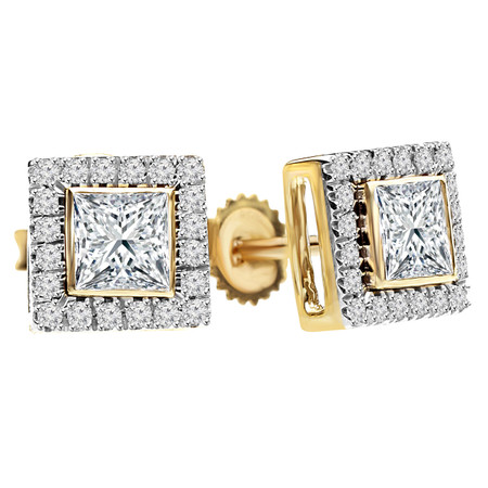Princess Cut Diamond Multi-Stone Bezel-Set Halo Vintage Stud Earrings with Round Diamond Accents in Yellow Gold - #HE4892-Y-PR