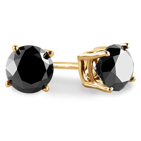 Round Cut Black Diamond Solitaire 4-Prong Stud Earrings with Screwbacks in Yellow Gold - #R418-BLK-Y