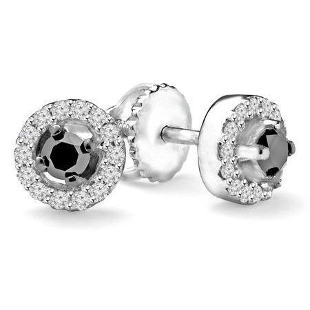 Round Cut Black Diamond Multi-Stone 4-Prong Halo Stud Earrings with Round Cut White Diamond Accents with Screwbacks in White Gold - #CDEAOF5099