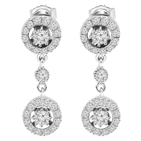 Round Cut Diamond Dangle Drop Vintage Multi-Stone Prong Earrings in White Gold - #E303