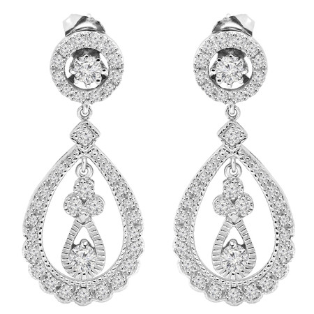 Round Cut Diamond Dangle Drop Vintage Multi-Stone Shared-Prong Teardrop Shape Earrings in White Gold - #E301