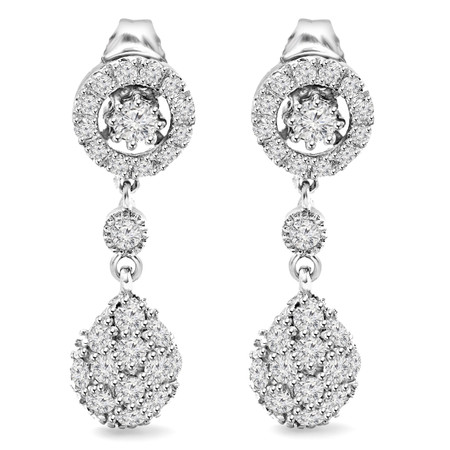 Round Cut Diamond Dangle Drop Vintage Multi-Stone Shared-Prong Earrings with Pushbacks in White Gold - #E299