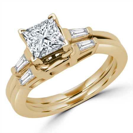 Princess Cut Diamond Multi-Stone V-Prong Engagement Ring & Wedding Band Bridal Set with Baguette Cut Diamond Accents in Yellow Gold - #HR8092A-B-Y