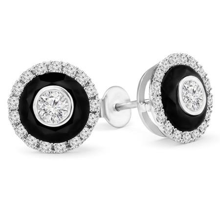 Round Cut White Diamond Bezel-Set Inside Black Diamond Multi-Stone Halo Stud Earrings with Round White Diamond Accents in White Gold - #SIMION