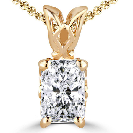 Radiant Cut Diamond Solitaire 4-Prong Decorative-Bail Pendant Necklace with Chain in Yellow Gold - #PEF-Y-RAD