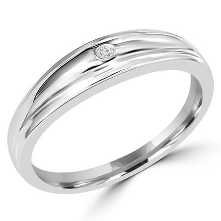 Round Cut Diamond Bezel Set Mens Wedding Band Ring in White Gold - #UR2188-W