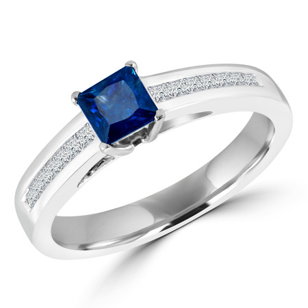 Princess Cut Blue Sapphire Gemstone Multi-Stone Engagement Ring with Princess Cut White Diamond Channel-Set Accents in White Gold - #HR4528-W-SA