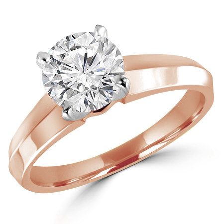 Solitaire Round Cut Diamond Knife Edge Engagement Ring in Rose Gold (MVS0016-R) - #1535L-R