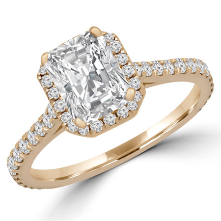 Radiant Cut Diamond Multi-Stone 4-Prong Halo Engagement Ring with Round Diamond Accents in Yellow Gold - #EMERALD-RAD-Y