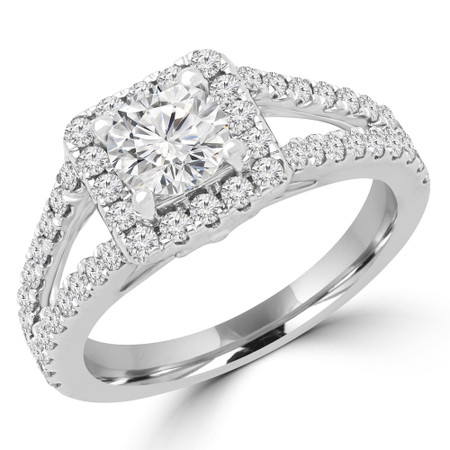 Round Diamond Halo Engagement Ring in White Gold - #HR6200-NEW-W