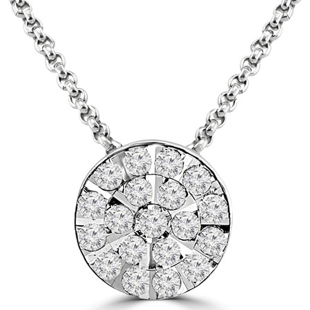 Round Cut Diamond Multi-Stone Fashion Cluster Pendant Necklace with Chain in White Gold - #PETH0590-W