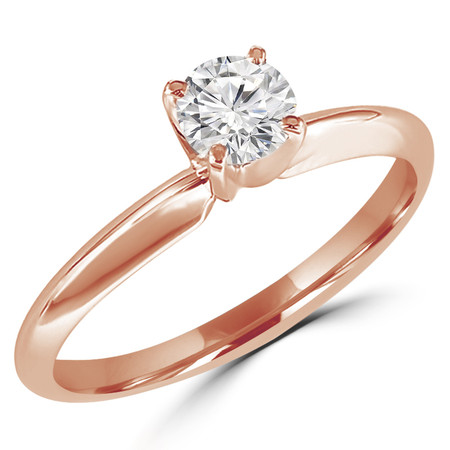 Round Cut Diamond Solitaire 4-Prong Engagement Ring in Rose Gold - #S4R-R