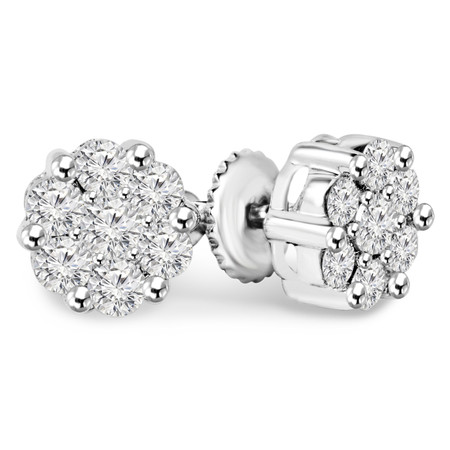 Round Cut Diamond Cluster Multi-Stone Shared-Prong Stud Earrings with Screwbacks in White Gold - #EAOH5913