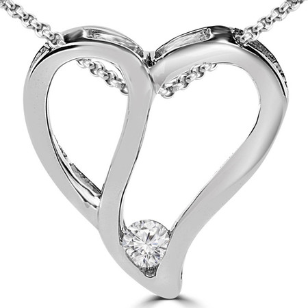 Round Cut Diamond Solitaire Heart Shape Pendant Necklace with Chain in White Gold - #PEOX2945-W