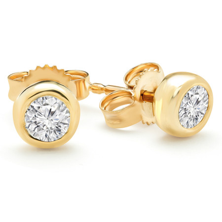 Round Cut Diamond Solitaire Bezel-Set Stud Earrings in Yellow Gold - #HDE2586-Y