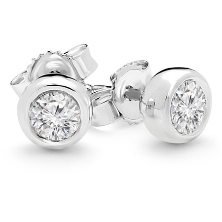 Round Cut Diamond Solitaire Bezel-Set Stud Earrings in White Gold - #HE1512-W