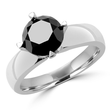 Round Cut Black Diamond Solitaire 4-Prong Engagement Ring in White Gold - #HR6948-W-BLK