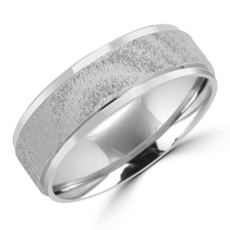 7.0 MM Brushed and Polished Mens Comfort Fit Wedding Band Ring in White Gold - #JM352-W