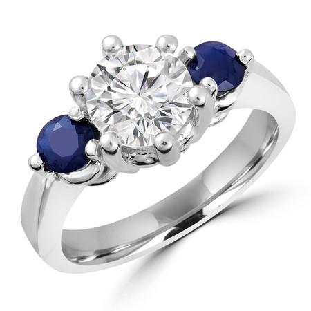 Round Cut Diamond & Blue Sapphire Gemstone Three-Stone 6-Prong Engagement Ring in White Gold - #IMP-R-A-W-SAP-ACC