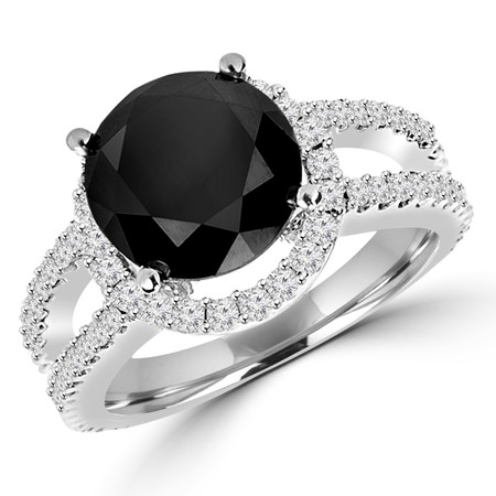 Round Cut Black Diamond Multi-Stone Split-Shank 4-Prong Halo Engagement Ring with Round White Diamond Accents in White Gold - #HR6265-W-BLK