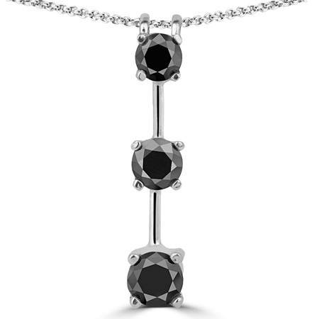 Round Cut Black Diamond Three-Stone 4-Prong Stick Pendant Necklace with Chain in White Gold - #R753L-W-BLK