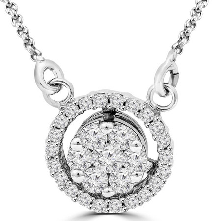 Round Cut Diamond Multi-Stone Shared-Prong Cluster Halo Pendant Necklace with Chain in White Gold - #RDE2528-W