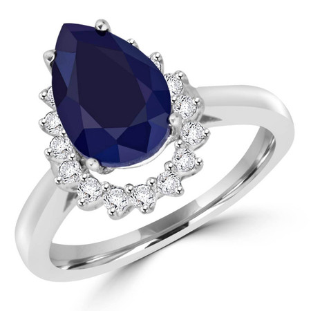 Pear Cut Blue Sapphire Gemstone Multi-Stone 4-Prong Halo Engagement Ring with Round White Diamond Accents in White Gold - #CSFR3F7172-W-SAP