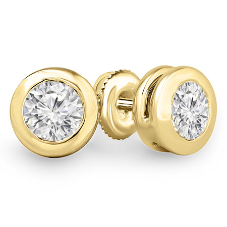 Round Cut Diamond Solitaire Bezel-Set Stud Earrings with Pushbacks in Yellow Gold - #ER1000-Y