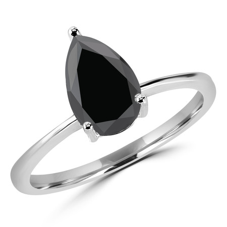 Pear Cut Black Diamond Solitaire 3-Prong Engagement Ring in White Gold - #10071-W