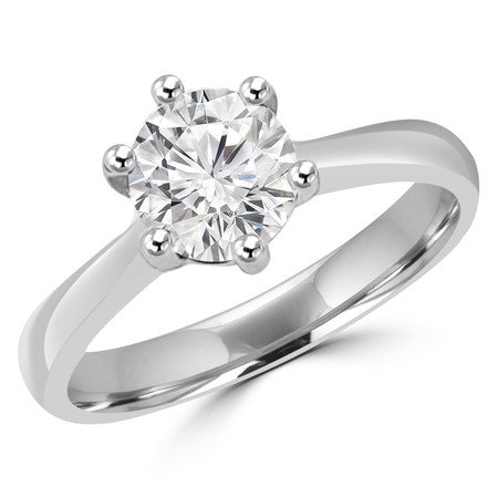 Round Cut Diamond Solitaire 6-Prong Cathedral-Set Tapered-Shank Engagement Ring in White Gold - #SRD2600-W