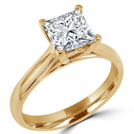 Princess Cut Diamond Solitaire 4-Prong Cathedral-Set Engagement Ring in Yellow Gold - #SPR2563-Y