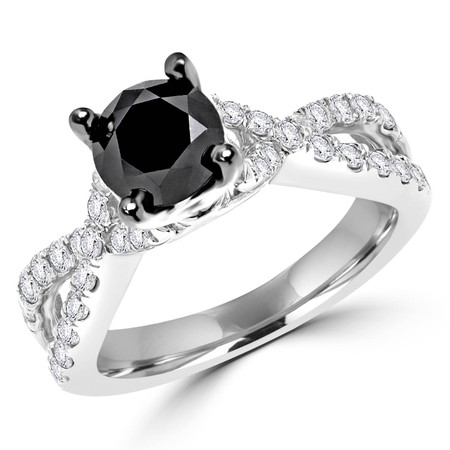 Round Cut Black Diamond Infinity Multi-Stone 4-Prong Engagement Ring with Round Cut White Diamond Scallop-Set Accents in White Gold - #CDFR1R1979