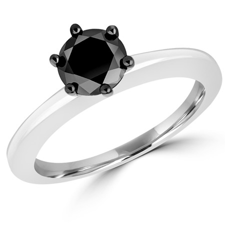 Round Cut Black Diamond Solitaire 6-Prong Engagement Ring in White Gold - #CDFR1R3631
