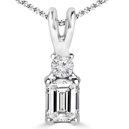 Emerald & Round Cut Diamond Two-Stone 4-Prong Pendant Necklace with Chain in White Gold - #DPE-2-W