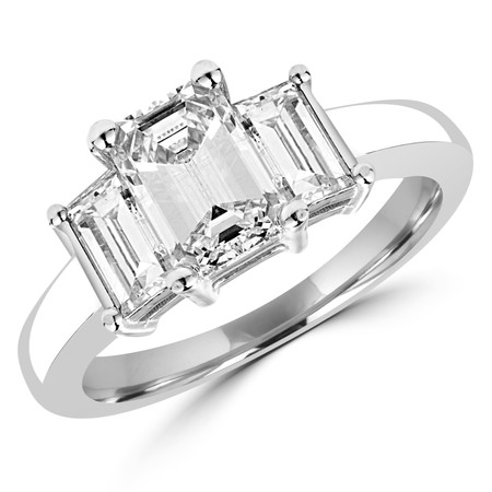 Emerald Cut Diamond Three-Stone 4-Prong Engagement Ring in White Gold - #IMP-R-G-W
