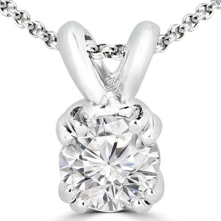 Round Cut Diamond Solitaire 4-Double Prong Pendant with Chain in White Gold - #R790R-W