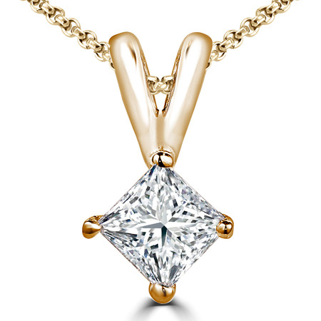 Princess Cut Diamond Solitaire 4-Prong Pendant Necklace with Chain in Yellow Gold - #PSQ-Y