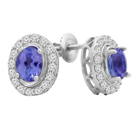 Oval Cut Purple Tanzanite Gemstone Multi-Stone 4-Prong Halo Stud Earrings with Round White Diamond Accents & Screwbacks in White Gold - #IETQ5059-W-TAN