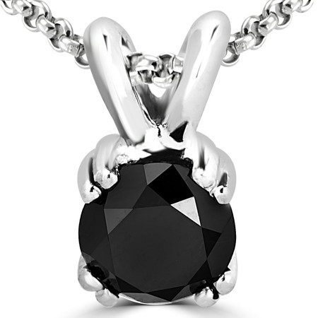 Round Cut Black Diamond Solitaire 4 Double-Prong Pendant Necklace with Chain in White Gold - #R790R-W-BLK